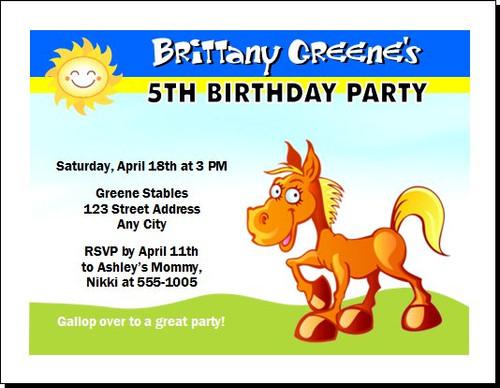 Cartoon Horse Birthday Party Invitation