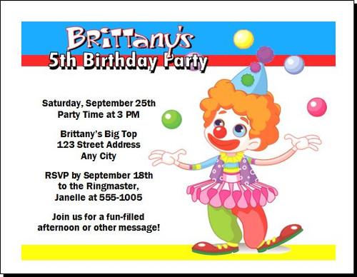 Circus Clown Birthday Party Invitation