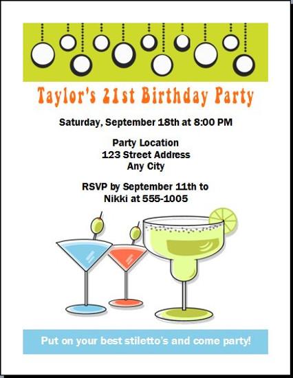 Cocktails Retro Birthday Party Invitation