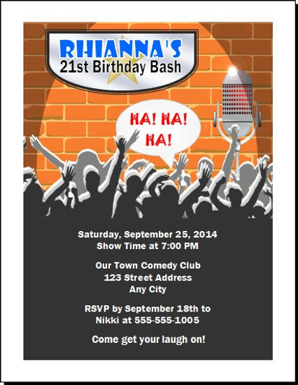 Comedy Club Birthday Party Invitation