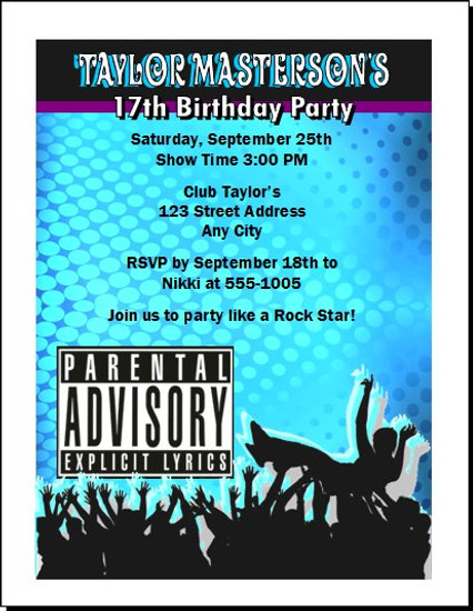 Crowd Surf Explicit Lyrics Birthday Party Invitation