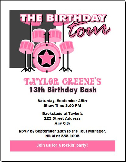 drummer girl birthday party invitation - Girl Birthday Party Invitations