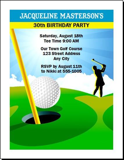 Golf Female Birthday Party Invitation