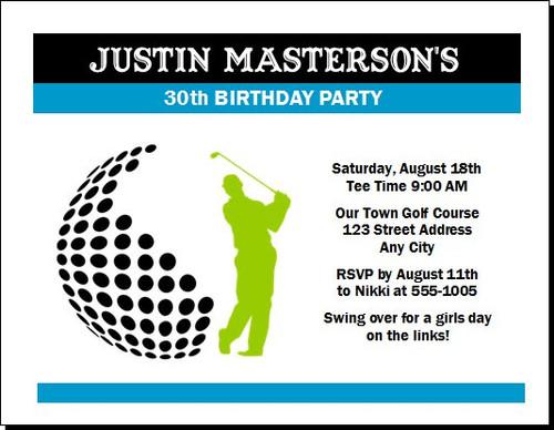 Golf Swing Birthday Party Invitation