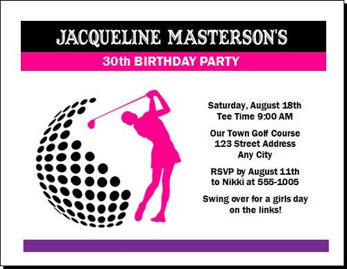 Golf Swing Female Birthday Party Invitation
