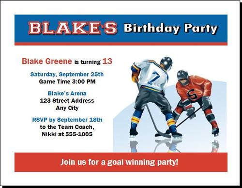 Hockey Birthday Party Invitation – Hockey Birthday Party Invitations