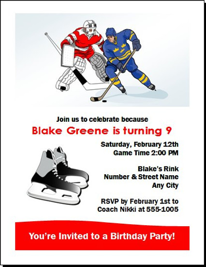 Hockey Players Birthday Party Invitation