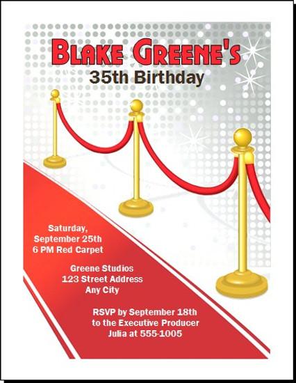 Red Carpet Paparazzi Birthday Party Invitation – Red Carpet Party Invitation