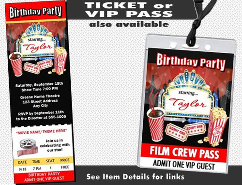 Movie Night Birthday Party Invitation – Movie Night Birthday Party Invitations