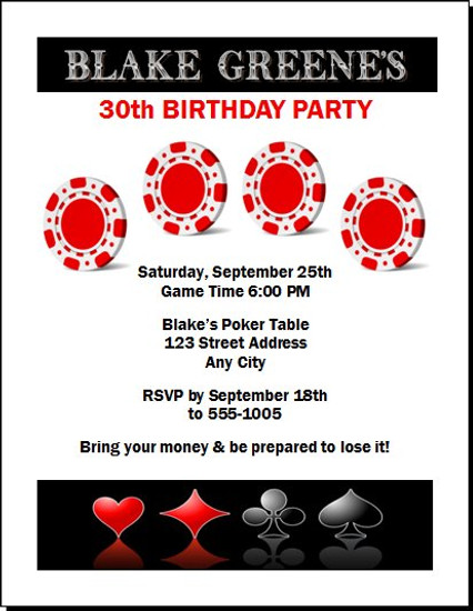 Poker Chips and Suits Birthday Party Invitation