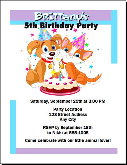 Puppy & Kitten Birthday Party Invitation