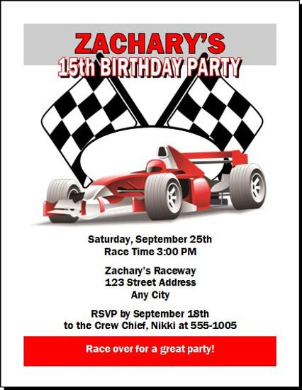 Race Car Birthday Party Invitation – Race Car Birthday Party Invitations