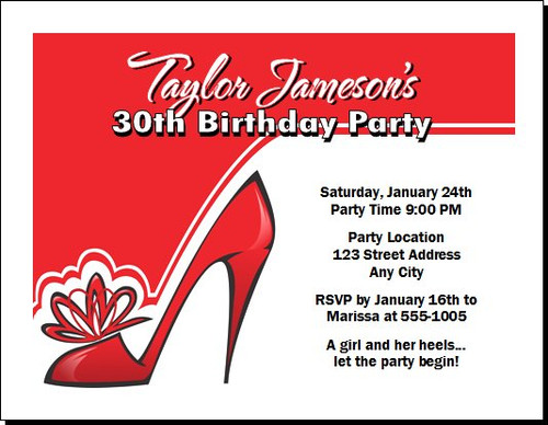 Red Stiletto Birthday Party Invitation
