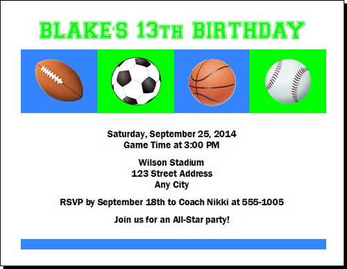 Sports Balls Birthday Party Invitation