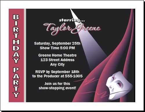 Theatre Star Birthday Party Invitation