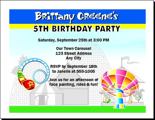 Theme Park Birthday Party Invitation