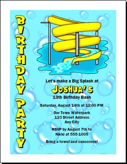 Water Park Birthday Party Invitation