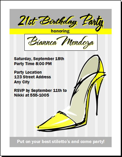 Yellow Stiletto Birthday Party Invitation