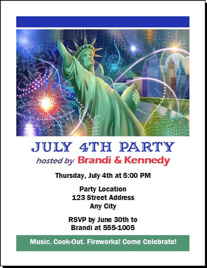 Lady Liberty In The City 4th of July Party Invitation