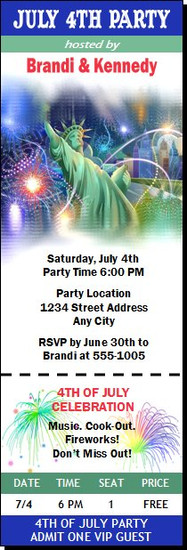 Lady Liberty In The City July 4th Party Ticket Invitation