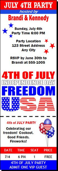 Red White Blue Freedom Party Ticket Invitation