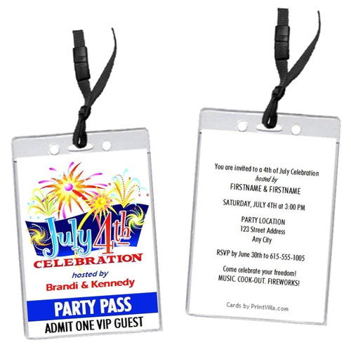 4th of July Celebration VIP Pass Invitation