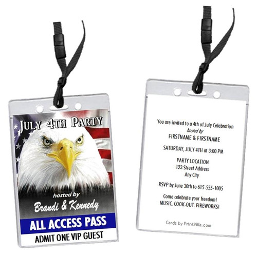 American Eagle 4th of July Party VIP Pass Invitation