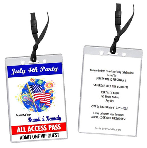 American Flag 4th of July Party VIP Pass Invitation