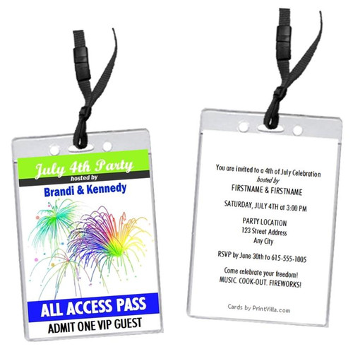 Fireworks 4th of July Party VIP Pass Invitation