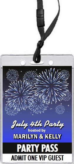 Fireworks Blue 4th of July Party VIP Pass Invitation Front