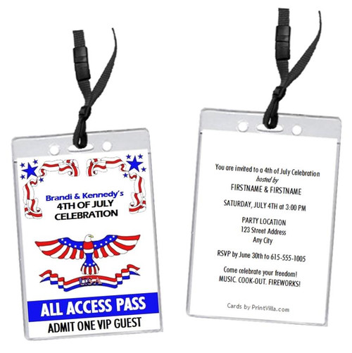 Patriotic 4th of July Party VIP Pass Invitation
