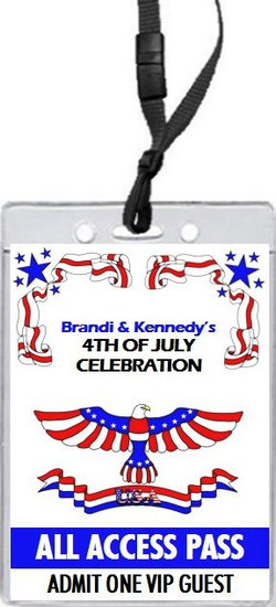 Patriotic 4th of July Party VIP Pass Invitation Front
