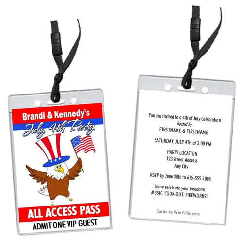 The Patriotic Eagle 4th of July Party VIP Pass Invitation