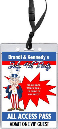 Uncle Sam 4th of July Party VIP Pass Invitation Front