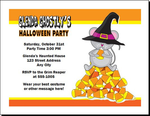 Candy Corn Mouse Halloween Party Invitation