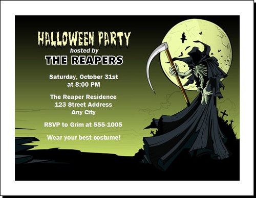 Grim Reaper Halloween Party Invitation