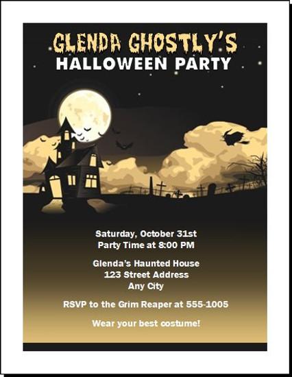 haunted house halloween party invitation set of 12 - House Party Invitation