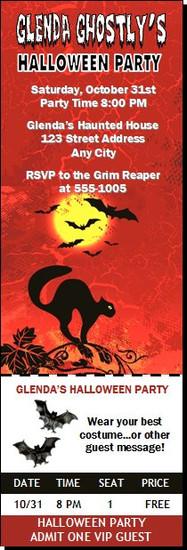 Black Cat Halloween Party Ticket Invitation