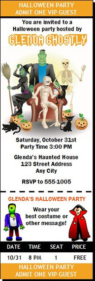 Costume Party Halloween Ticket Invitation