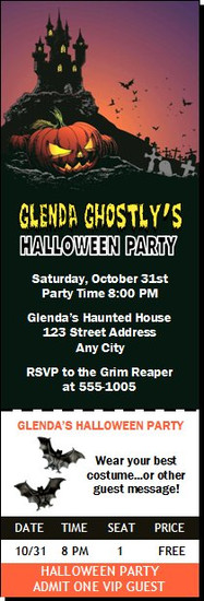 Haunted House Design 2 Halloween Party Ticket Invitation