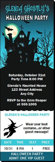 Haunted House Design 3 Halloween Party Ticket Invitation
