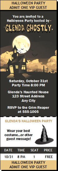 Haunted House Halloween Party Ticket Invitation