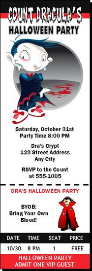 Vampire Cartoon Halloween Party Ticket Invitation