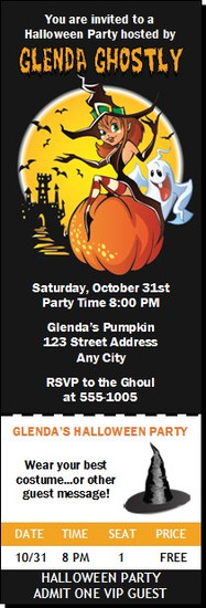 Witch Halloween Party Ticket Invitation