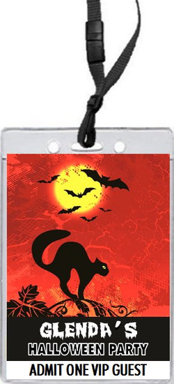 Black Cat Halloween Party VIP Pass Invitation Front