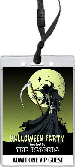 Grim Reaper Halloween Party VIP Pass Invitation Front