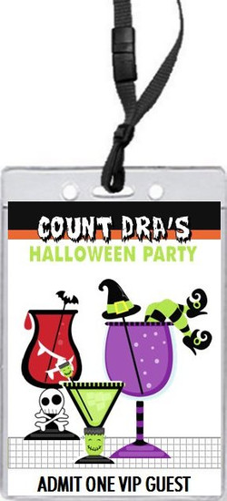 Halloween Cocktail Party VIP Pass Invitation Front