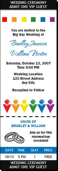 Big Fat Gay Wedding Ticket Invitation