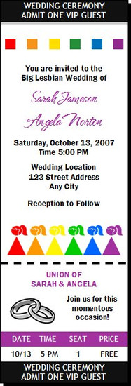 Big Fat Lesbian Wedding Ticket Invitation
