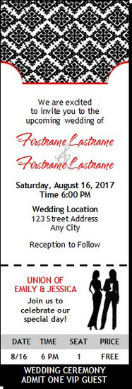 Black & White Lesbian Wedding Ticket Invitation Butch-Femme